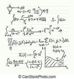 mathématique, modèle, formules