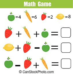 mathématique, pédagogique, jeu, children., dénombrement, équations, math