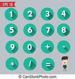 mathématique, plat, eps10, -, long, symboles, vecteur, illustration, ombre, icône, nombres