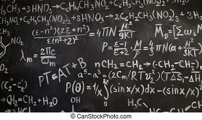 mathématique, salle, mur, chimique, fond, équations