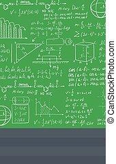 mathématique, tableau noir, blanc, equations., fond