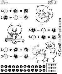 mathématique, worksheet, coloration