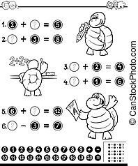 mathématique, worksheet, livre coloration