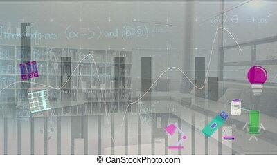 mathématiques, bibliothèque, sur, icônes, graphiques, salle...