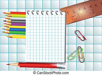 mathématiques, bloc-notes, fond