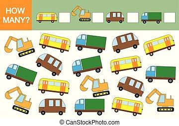 mathématiques, dénombrement, pédagogique, jeu, children., comment, (transports)?, voitures, beaucoup