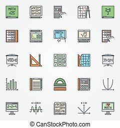 mathématiques, ensemble, icônes