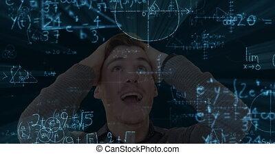 mathématiques, fond, flotter, noir, formulae, caucasien, animation, excité
