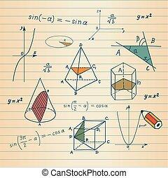 mathématiques, formes, -, géométrique