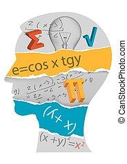 mathématiques, tête, étudiant