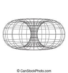 mathématiques, topology, géométrie, torus, cercle blanc, fond