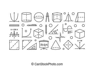 mathématiques, trigonométrie, illustration, contour