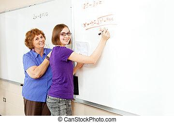 math, étudiant, copyspace, prof
