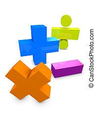 Math - 3d image, conceptual arithmetic symbol