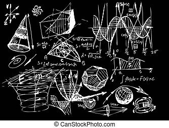 math and geometry isolated on the black board