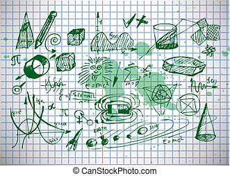 math and physics symbols isolated on the old paper
