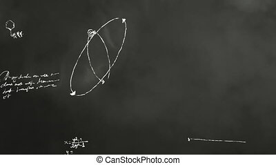 Animation of a blackboard being scribbled on during a math and science class.