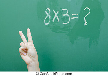 Math Answer - One happy child at school knowing the answer