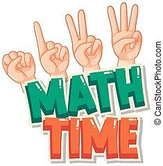 math, autocollant, temps, conception, dénombrement, main