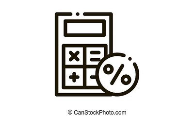 Math Calculator for Calculations Icon Animation. black Math Calculator for Calculations animated icon on white background