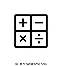 math calculator icon vector outline illustration