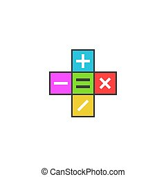 Math calculator logo, Mathematical symbols plus, minus, subtract, multiply, equals icon on the colored tiles, simple modern flat pictogram to mobile app
