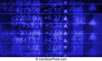 Math charts graphs stock market flying numbers in blue looping animated background