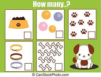 math, dénombrement, pédagogique, objets, jeu, tâche, gosses, comment, enfants, beaucoup, activity.