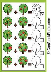 Math educational counting game for children, addition worksheet