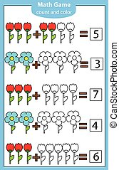 Math educational game for children. Counting equations. Addition worksheet.