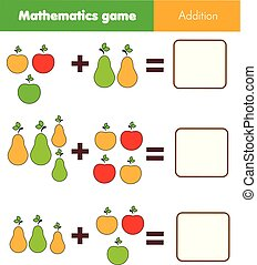 Math educational game for children. Counting equations. Addition worksheet with fruits