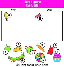 Math educational game for children. Learning even and odd...