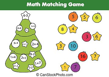 Math educational game for children. Matching mathematics activity. Counting game for kids, addition. New Year, Christmas holidays theme