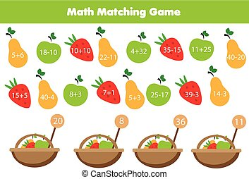 Math educational game for children. Matching mathematics activity. Counting game for kids