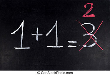 Math error - Mathematical error corrected in red on a white...