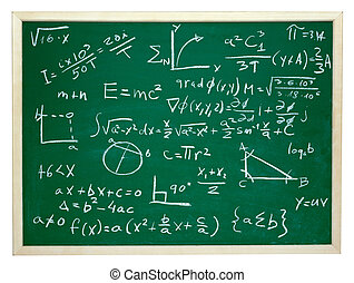 math formulas on school blackboard education - close up of...