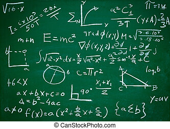 math formulas on school blackboard education - close up of ...