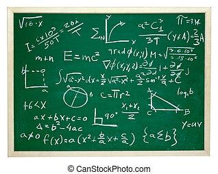 math formulas on school blackboard education - close up of ...