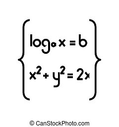 Math functions black icon, concept illustration, vector flat symbol, glyph sign.