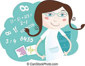 Math girl - She love math! Vector girl character with...