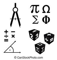 math icons set in black color illustration