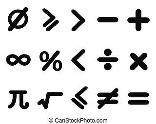 math icons set - isolated black math icons set from white...