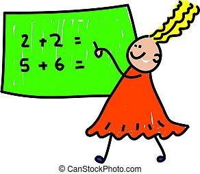 math kid - little girl doing her maths - toddler art series