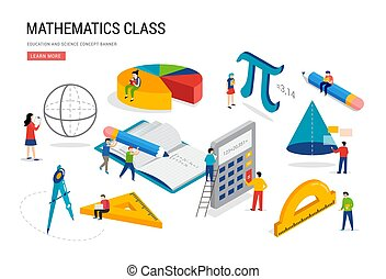 Math lab and school class. Science, education, mathematics scene with miniature people, students. Isometric concept design