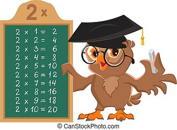 Math lesson multiplication table of 2 by numbers. Owl teacher at blackboard shows table of multiplication examples