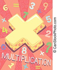 Math Multiplication Symbol Design - Illustration Featuring...