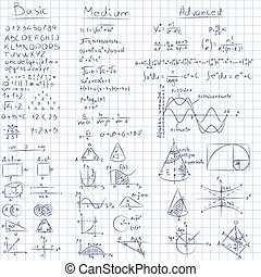 Math notes. - Vector of Mathematics on seamless grid paper....