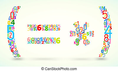 Math operands, colored vector font from numbers - Math...