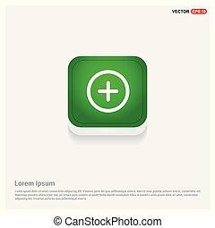 Math plus icon Green Web Button