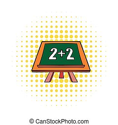 Math simple equation on chalk board icon